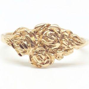 Vintage 14k Yellow Gold Flower Rose Ring Size 5